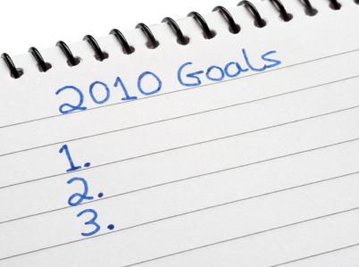 Writing goals for 2010 in a notebook.