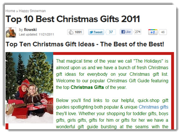 Squidoo Top 10 Christmas Lists