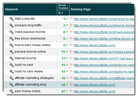 Current Website Search Engine Rankings