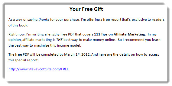 Free Gift for Kindle Customers