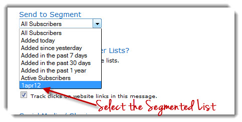 Segmented Email List in Aweber