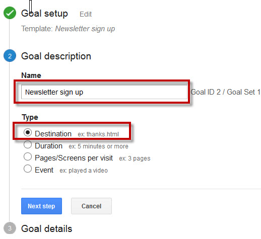 Goal Description in Google Analytics